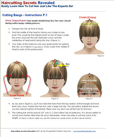 cutting bangs fringe instructions from tutorial guide book