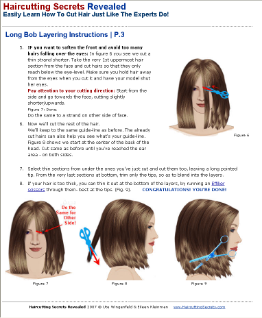 Long Bob haircut layering instructions - sample page from Haircutting