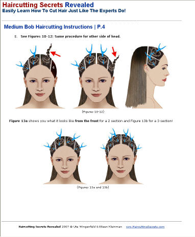 "Medium bob hair style cutting instructions - sample page from ""Haircutting"
