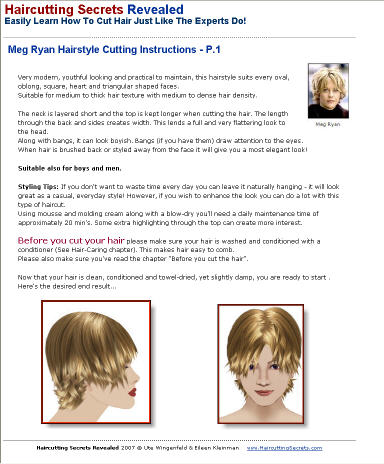 Meg Ryan hairstyle hair-cutting tutorial book instructions