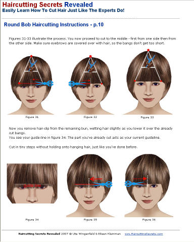 Round bob (Cleopatra, helmet) hair cutting instructions sample from haircutting ebook