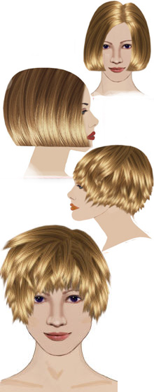 Sample of short bob and short-layered bob haircut hair-styles you'll learn
